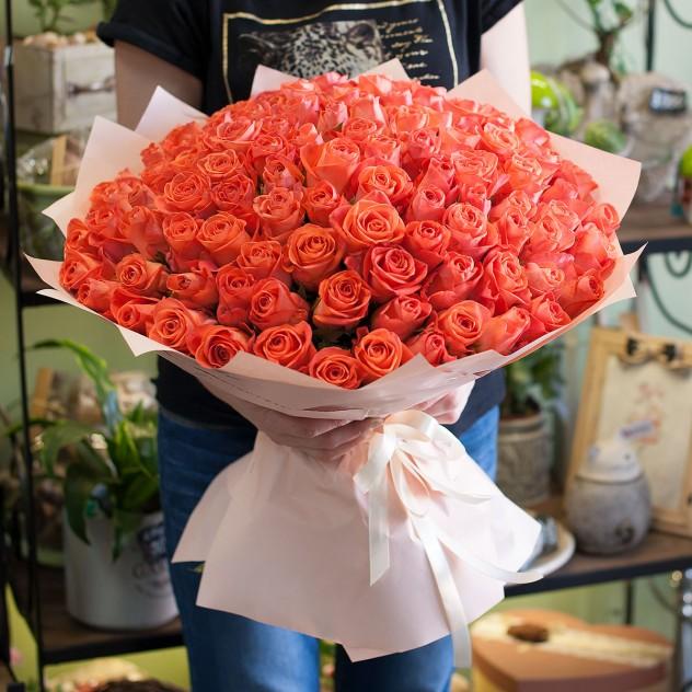 Букет из оранжевых роз (101 роза)