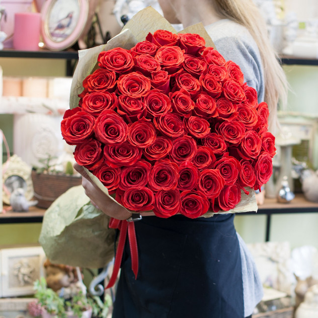 Букет из 51-ой аллой розы премиум класса